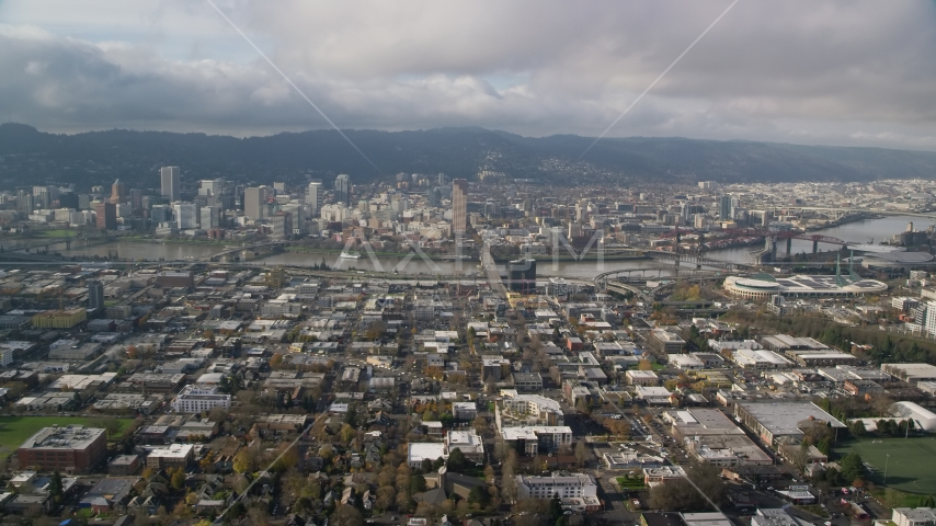 The Burnside Bridge and Downtown Portland, Oregon Aerial Stock Photos AX153_103.0000000F | Axiom Images
