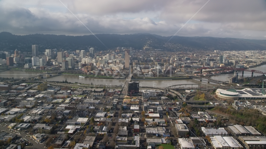 The Burnside Bridge leading to Downtown Portland, Oregon Aerial Stock Photos AX153_103.0000249F