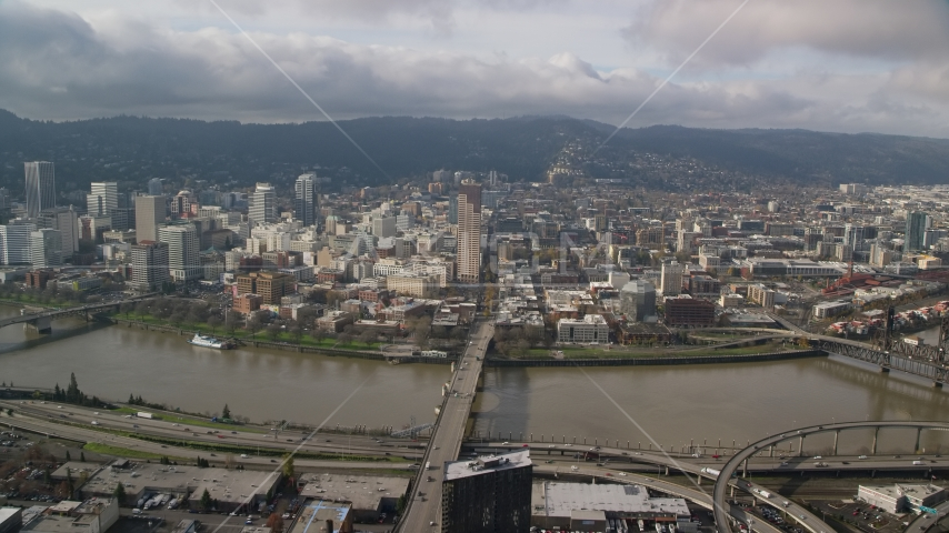 The Burnside Bridge leading to Downtown Portland, Oregon Aerial Stock Photo AX153_104.0000287F | Axiom Images