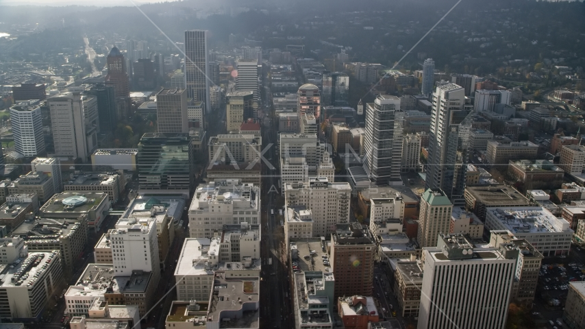 SW 6th Avenue and tall skyscrapers in Downtown Portland, Oregon Aerial Stock Photos AX153_106.0000260F