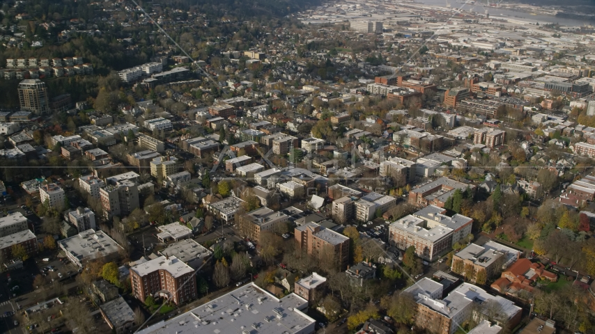Apartment and office buildings in Northwest Portland, Oregon Aerial Stock Photos AX153_108.0000000F