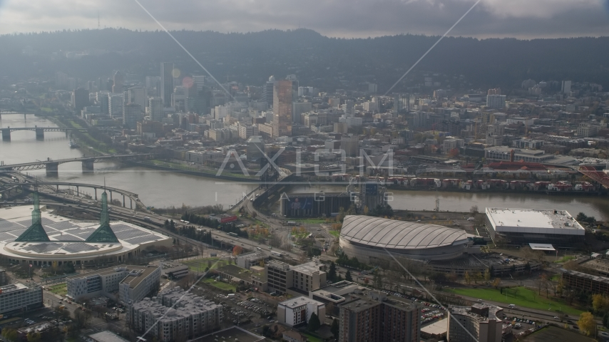 Skyscrapers in Downtown Portland, the Willamette River, and Moda Center in Oregon Aerial Stock Photos | AX153_113.0000000F
