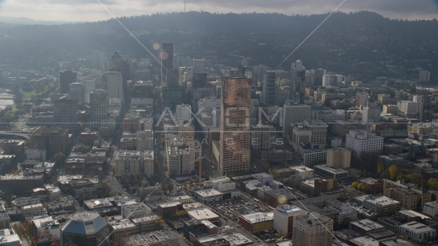 The US Bancorp Tower and skyscrapers in Downtown Portland, Oregon Aerial Stock Photos | AX153_115.0000252F