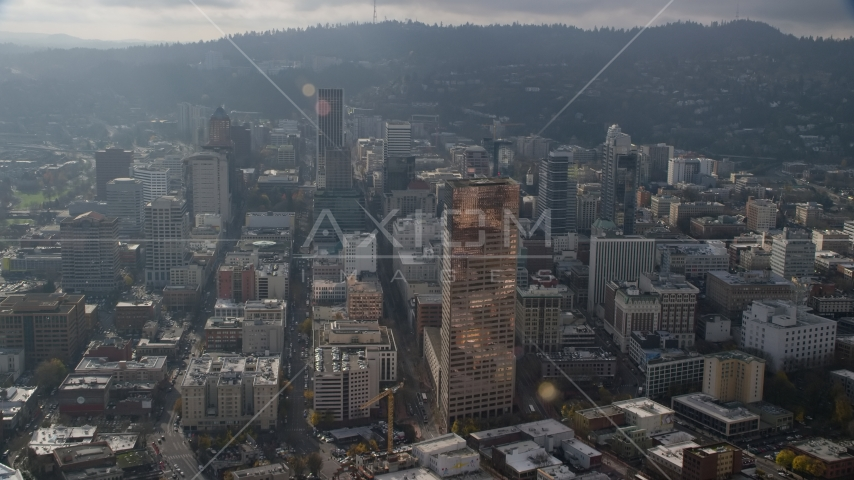 US Bancorp Tower and high-rises in Downtown Portland, Oregon Aerial Stock Photos AX153_115.0000339F