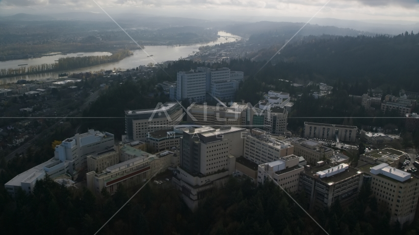 The Oregon Health and Science University complex in Portland, Oregon Aerial Stock Photos | AX153_119.0000106F