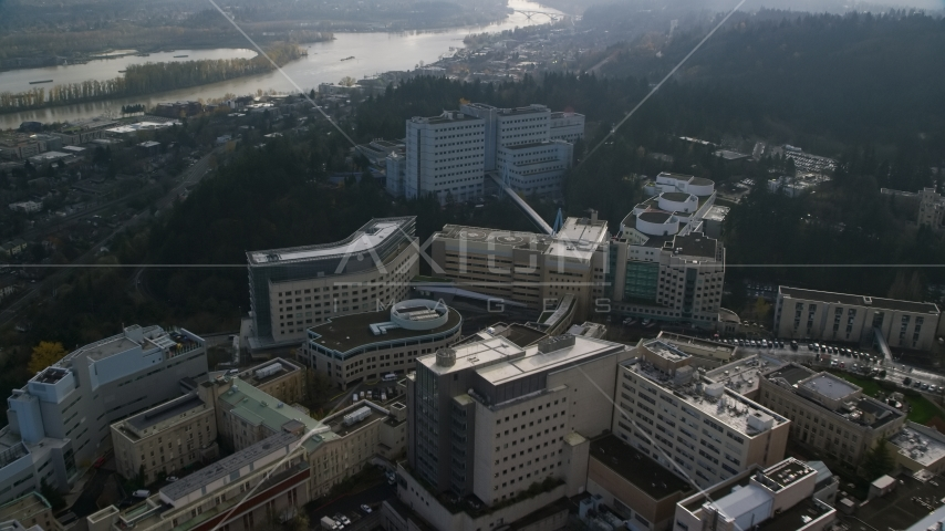 Oregon Health and Science University buildings in Portland, Oregon Aerial Stock Photos | AX153_119.0000183F