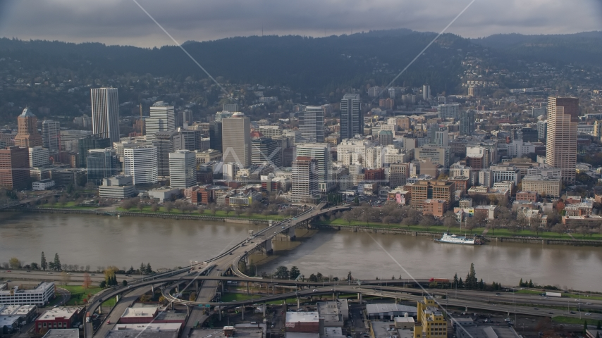 Downtown Portland, Oregon across the Willamette River and Morrison Bridge Aerial Stock Photos | AX153_121.0000284F