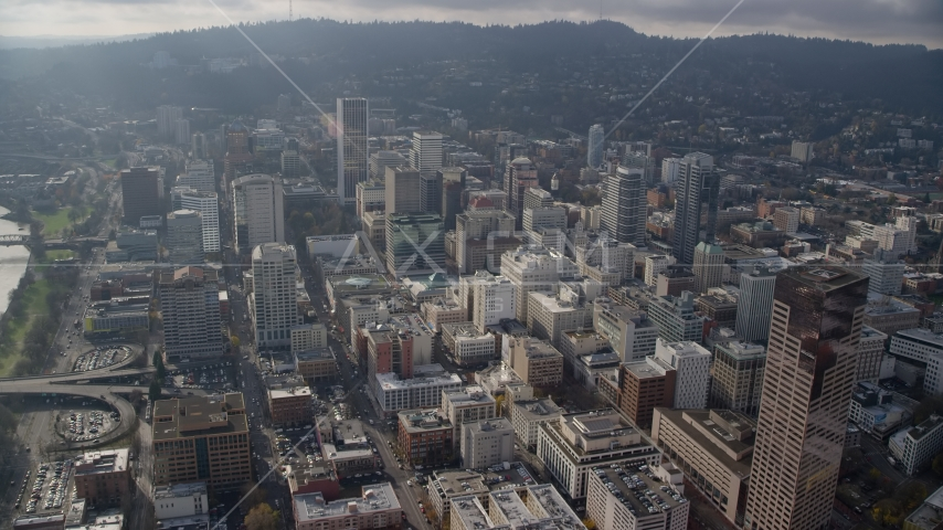 Skyscrapers and high-rises in Downtown Portland, Oregon Aerial Stock Photo AX153_123.0000338F | Axiom Images