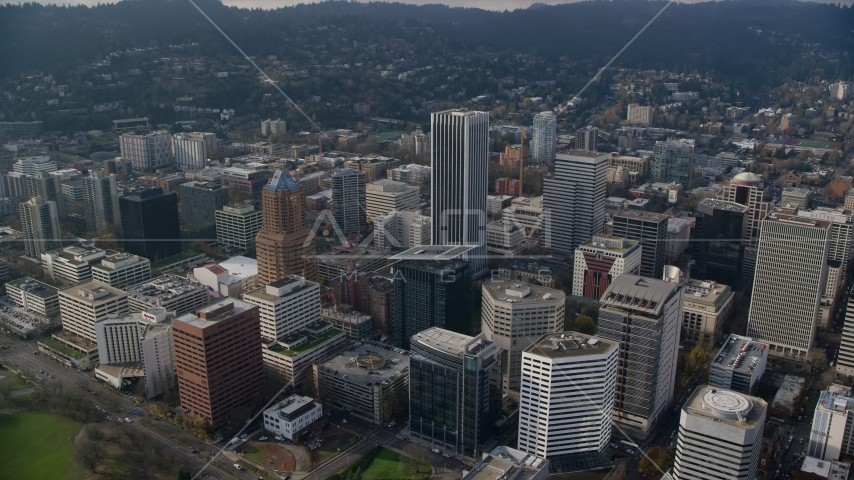 The KOIN Center and Wells Fargo Center skyscrapers and high-rises in Downtown Portland, Oregon Aerial Stock Photos | AX153_125.0000324F