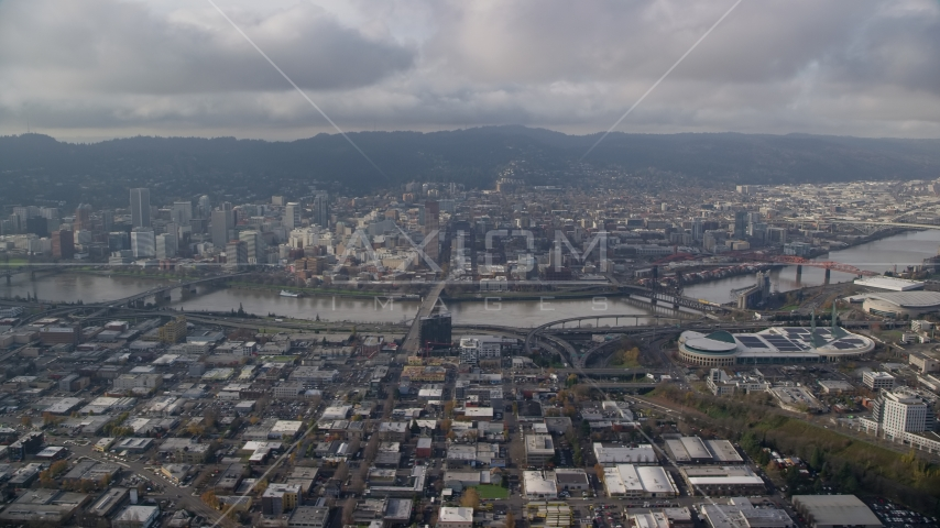 Downtown Portland, Willamette River bridges, and the convention center, seen from Lloyd District in Oregon Aerial Stock Photos | AX153_129.0000000F