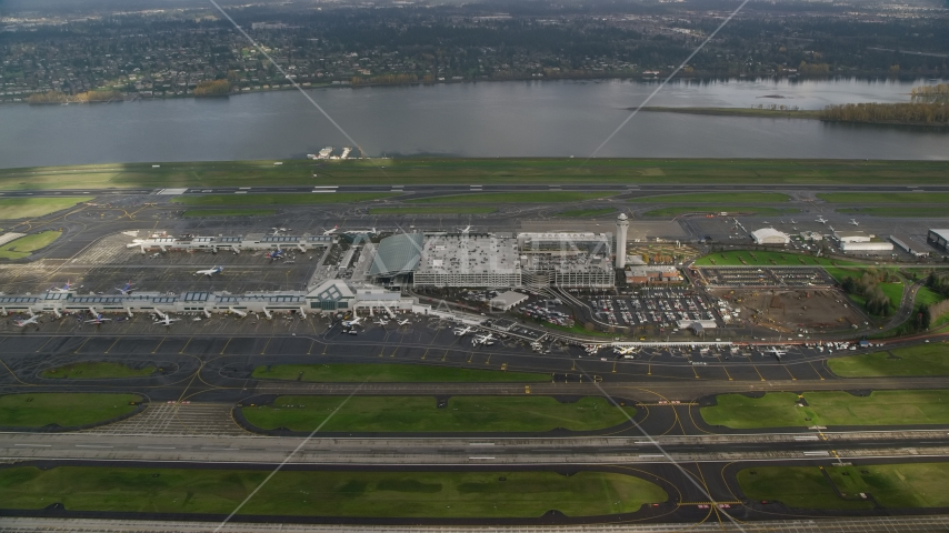 Approach Portland International Airport runways and terminals in Oregon Aerial Stock Photos | AX153_134.0000130F