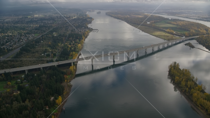 I-205 Bridge spanning Columbia River in Vancouver, Washington Aerial Stock Photos | AX153_138.0000000F