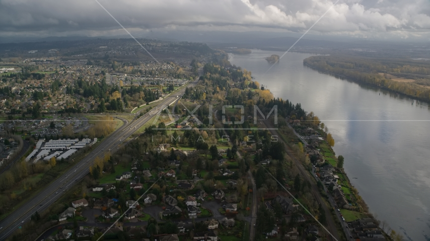 Highway 14 and suburban homes on the Columbia River in Vancouver, Washington Aerial Stock Photos | AX153_142.0000206F