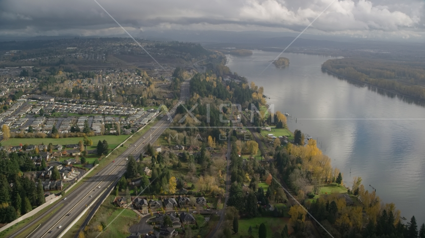 Suburban houses between Highway 14 and Columbia River, Vancouver, Washington Aerial Stock Photos | AX153_143.0000253F