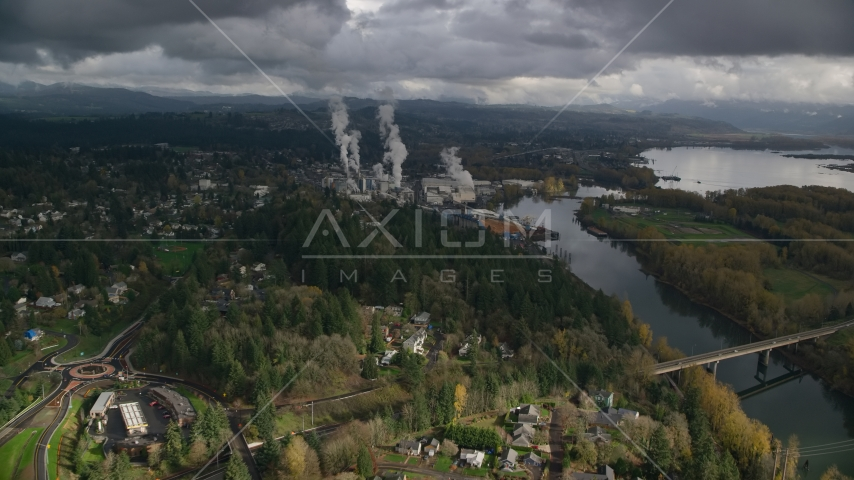 High Above Suburban Homes Looking To Paper Mill, Camas, Washington Aerial Stock Photos | AX153_149.0000224F