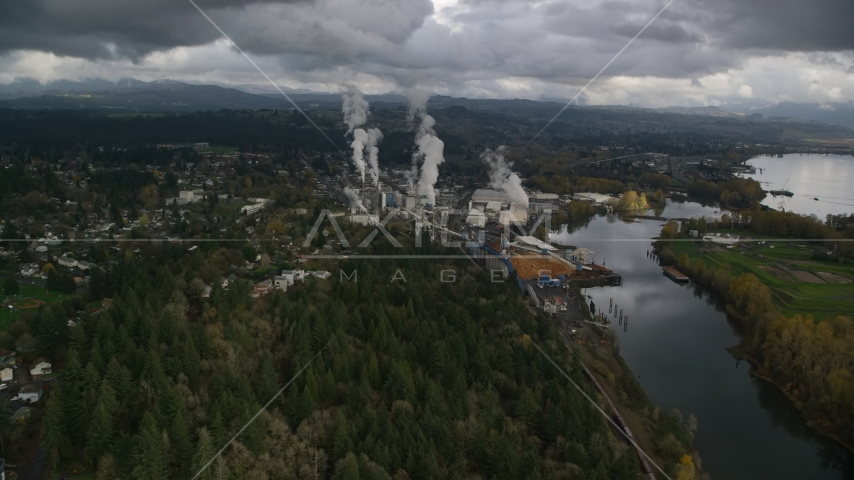 The Georgia Pacific Paper Mill in Camas, Washington Aerial Stock Photos | AX153_150.0000185F