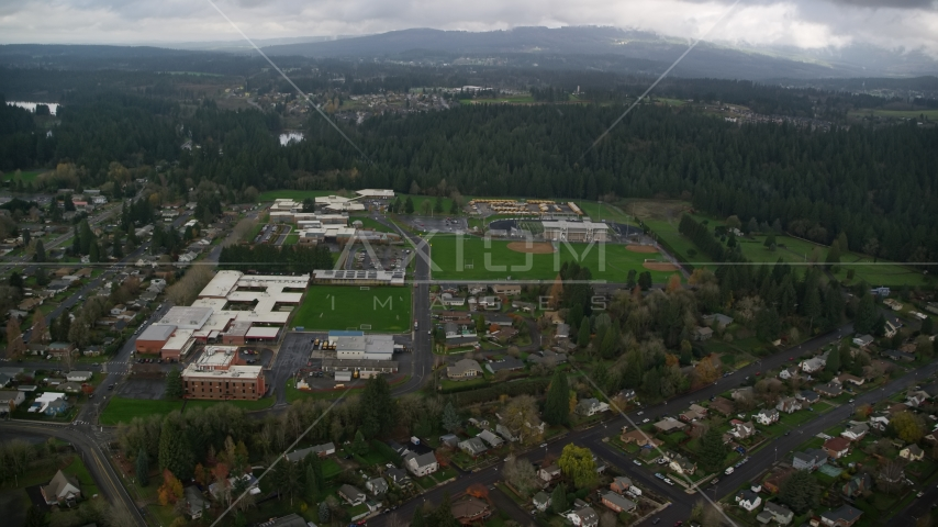 School campuses and sports fields in Camas, Washington Aerial Stock Photo AX153_155.0000018F | Axiom Images