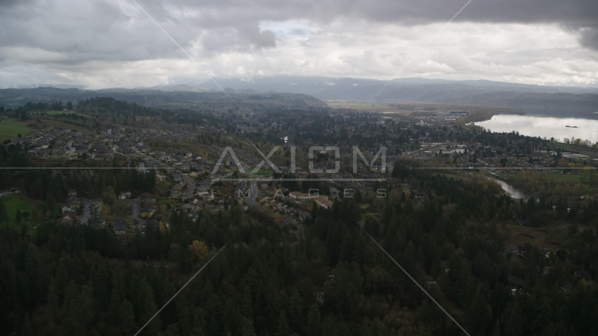 Tract homes in the small town of Camas, Washington Aerial Stock Photos | AX153_158.0000000F