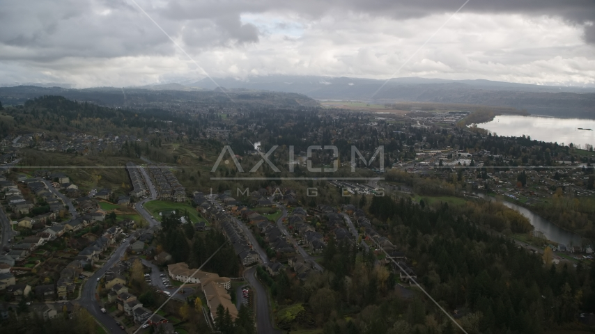 Tract Homes in the small town of Camas, Washington Aerial Stock Photo AX153_158.0000217F | Axiom Images