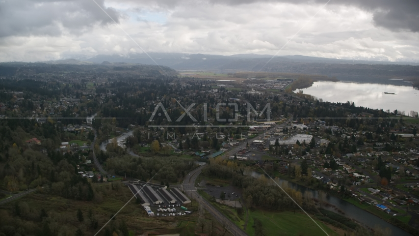 Tract homes and the Washougal River in Washougal, Washington Aerial Stock Photos | AX153_159.0000263F