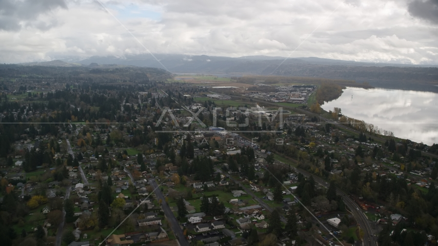 Small town neighborhoods in Washougal, Washington Aerial Stock Photos | AX153_161.0000000F