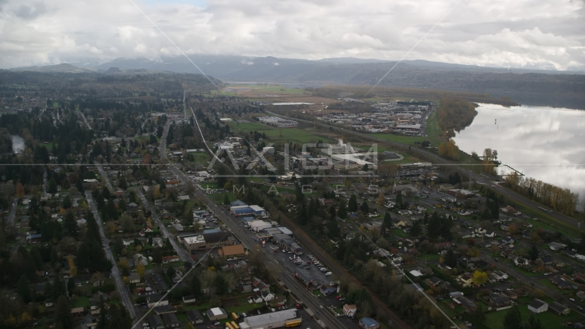 Small town neighborhoods in Washougal, Washington Aerial Stock Photos | AX153_161.0000216F