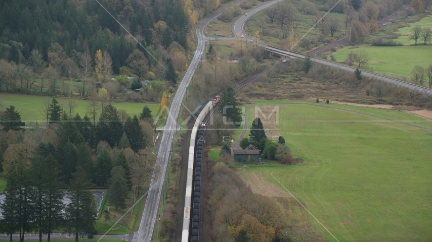 A train in Washougal, Washington Aerial Stock Photo AX153_172.0000310F | Axiom Images