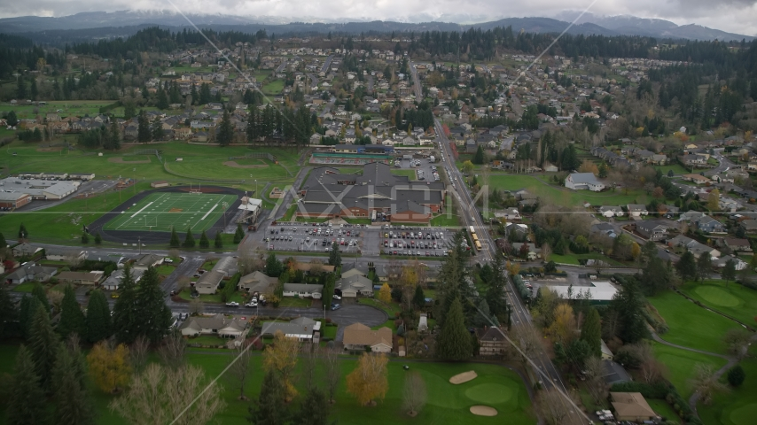 Washougal High School and sports fields in Washougal, Washington Aerial Stock Photos | AX153_173.0000150F