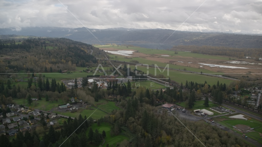 Train traveling through countryside, Washougal, Washington Aerial Stock Photo AX153_176.0000111F | Axiom Images