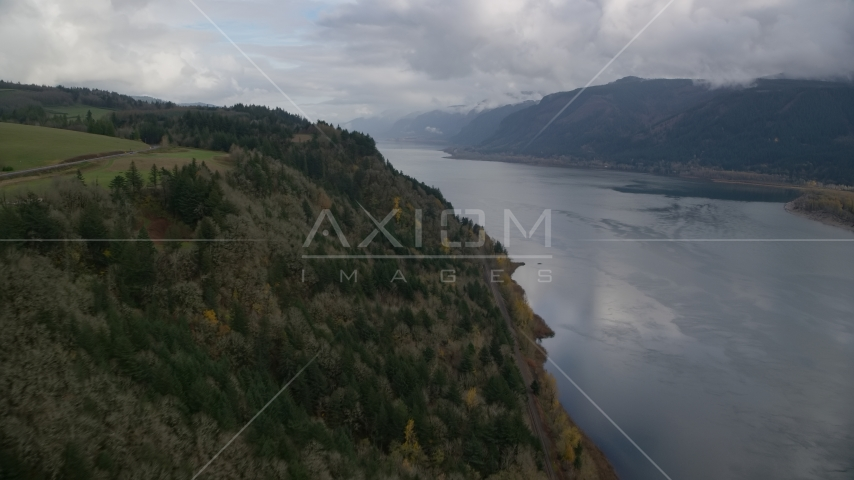 A view of the Columbia River Gorge in Oregon Aerial Stock Photos | AX153_184.0000000F
