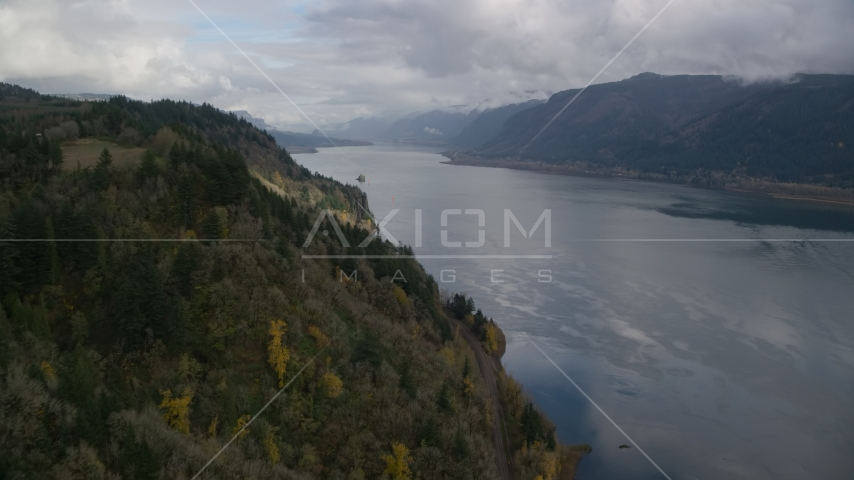 The Columbia River Gorge, Skamania, Washington Aerial Stock Photos | AX153_184.0000301F