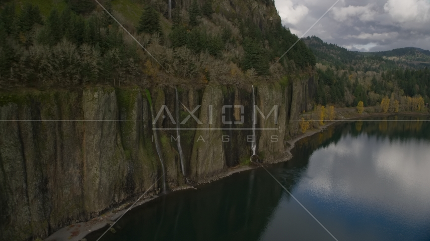 Three waterfalls in Columbia River Gorge, Washington Aerial Stock Photos | AX154_006.0000281F