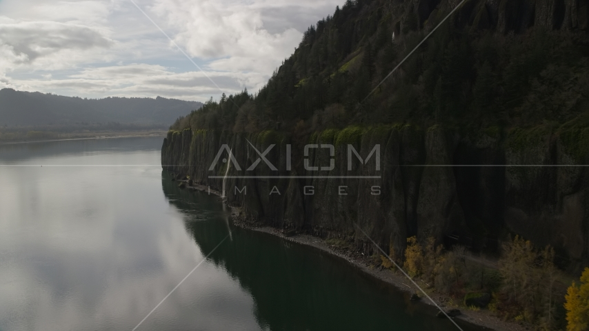 A waterfall on a cliff in Columbia River Gorge, Washington Aerial Stock Photos AX154_009.0000336F