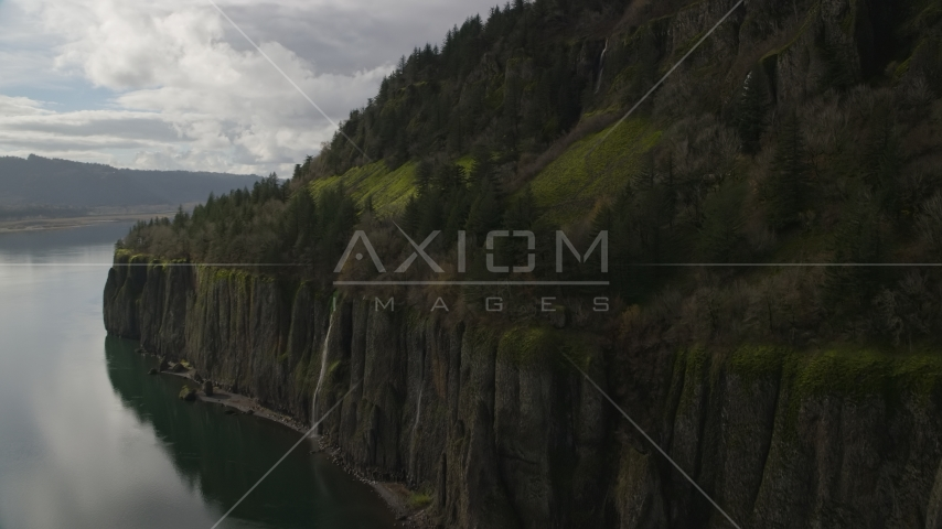 Cliffs with waterfalls in Columbia River Gorge, Washington Aerial Stock Photo AX154_010.0000171F | Axiom Images