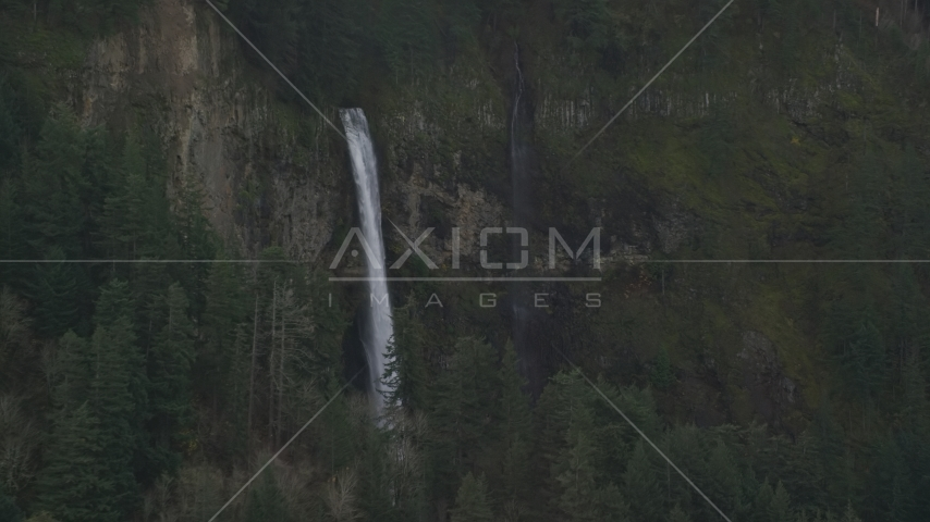 A view of Multnomah Falls on the Oregon side of Columbia River Gorge Aerial Stock Photo AX154_021.0000154F | Axiom Images