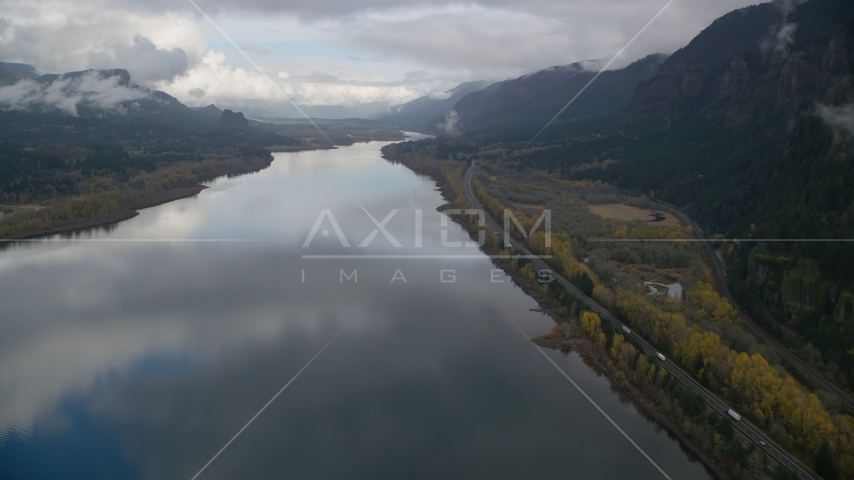 The Columbia River Gorge on the Multnomah County, Oregon side of the river Aerial Stock Photos | AX154_022.0000000F