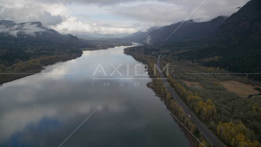 Highway beside the Columbia River Gorge on the Multnomah County, Oregon side of the river Aerial Stock Photos | AX154_022.0000310F