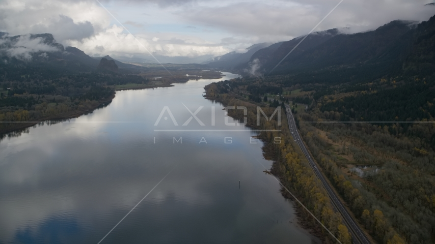 The Columbia River and I-84 through Columbia River Gorge, Multnomah County, Oregon Aerial Stock Photos | AX154_023.0000312F