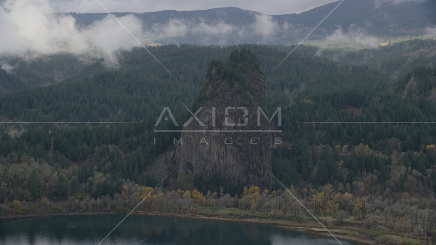 Beacon Rock in the Columbia River Gorge, Skamania County, Washington Aerial Stock Photos | AX154_027.0000278F