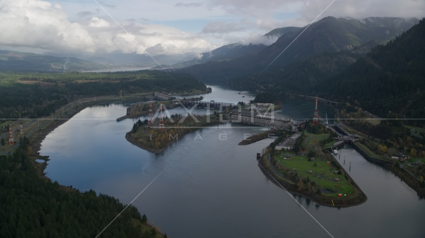 Bonneville Dam in the Columbia River, Columbia River Gorge Aerial Stock Photos | AX154_028.0000241F