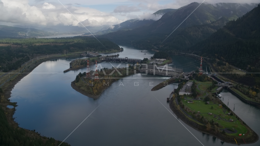 Columbia River and the Bonneville Dam in Columbia River Gorge Aerial Stock Photos | AX154_029.0000000F