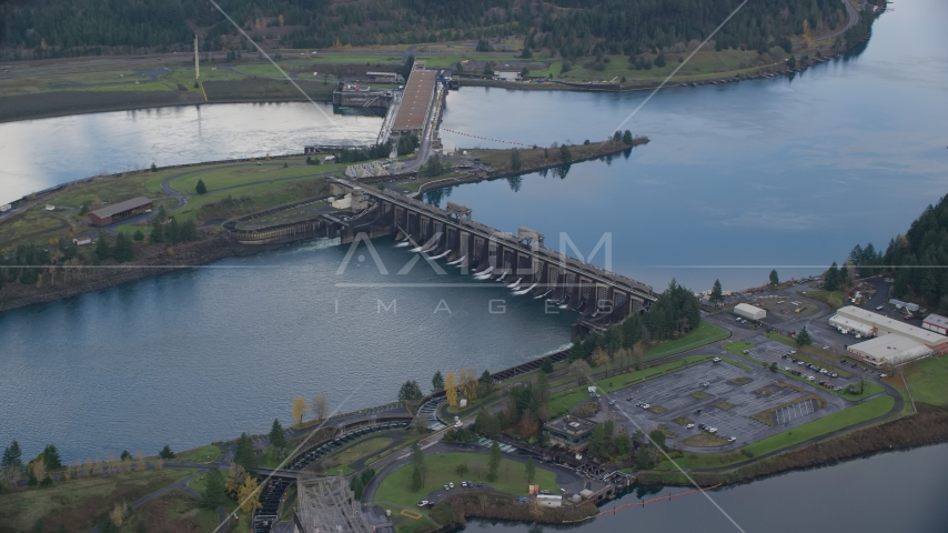 Bonneville Dam in Columbia River Gorge Aerial Stock Photos | AX154_037.0000325F