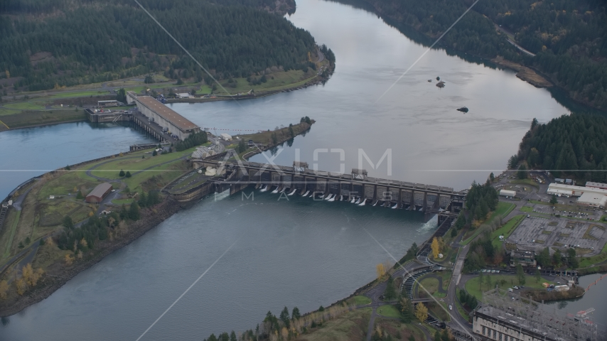 Bonneville Dam structures in the Columbia River Gorge Aerial Stock Photos | AX154_038.0000311F