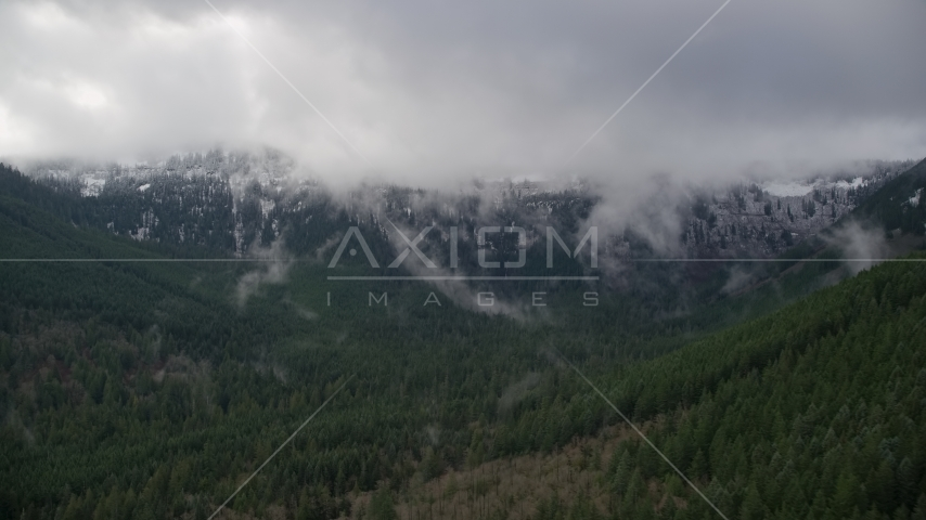 Snowy mountains at the end of a canyon with evergreen trees in Cascade Range, Hood River County, Oregon Aerial Stock Photos | AX154_057.0000000F