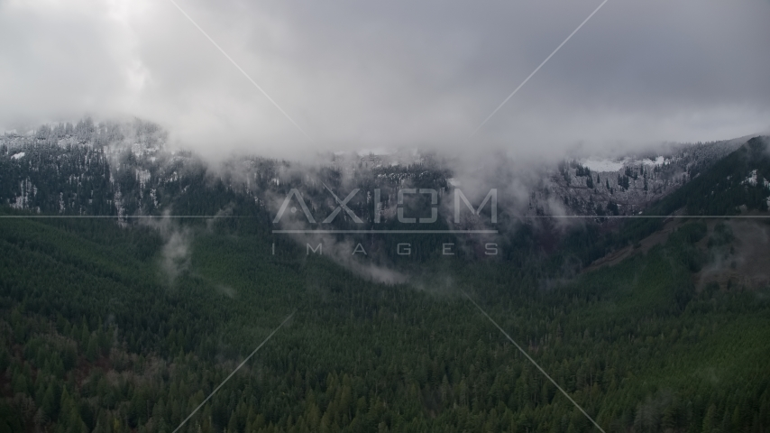 Mountains with at the end of a canyon with evergreens in Cascade Range, Hood River County, Oregon Aerial Stock Photos | AX154_057.0000216F