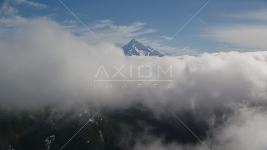 Snowy Mount Hood, visible above a layer of thick clouds, Cascade Range, Oregon Aerial Stock Photo AX154_060.0000093F | Axiom Images