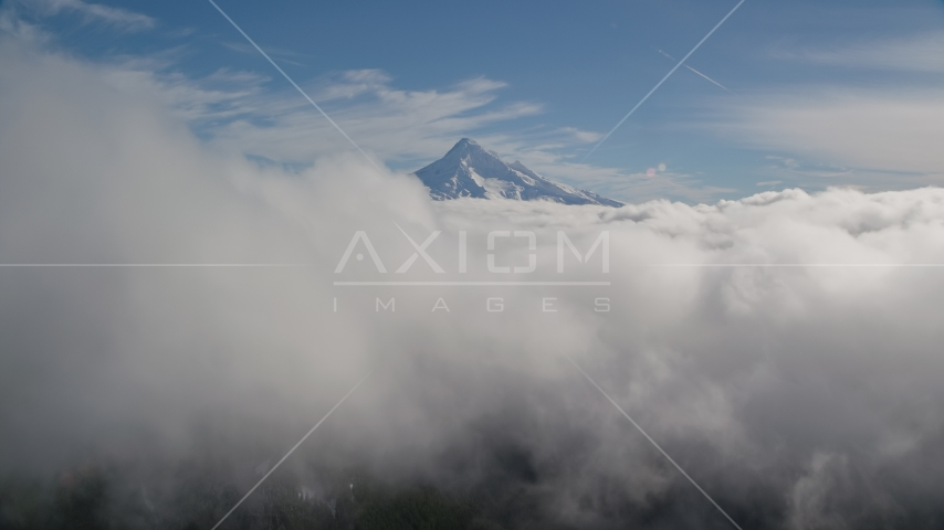 Clouds and the summit of Mount Hood, Cascade Range, Oregon Aerial Stock Photos | AX154_061.0000000F