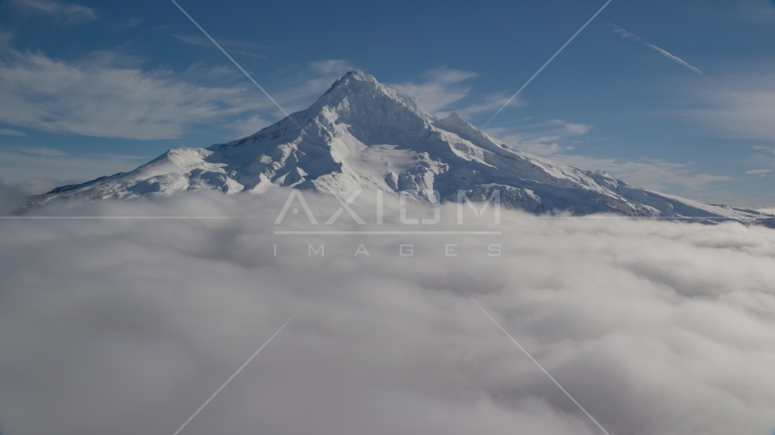 Mount Hood with snow, Cascade Range, Oregon Aerial Stock Photos | AX154_073.0000356F