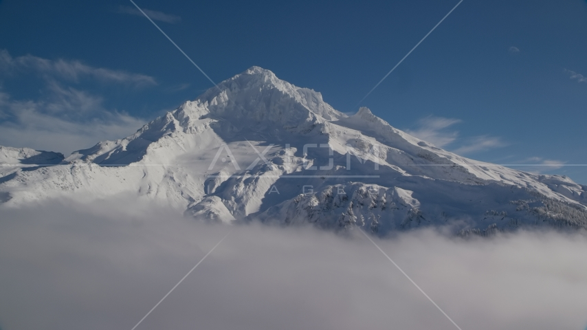 A view of snow-covered Mount Hood, Cascade Range, Oregon Aerial Stock Photos | AX154_078.0000000F
