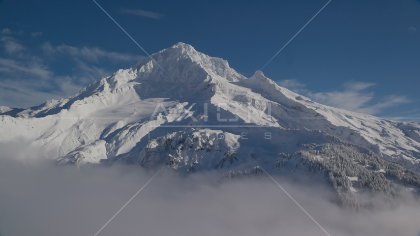 The top of snow-covered Mount Hood, Cascade Range, Oregon Aerial Stock Photos AX154_078.0000345F